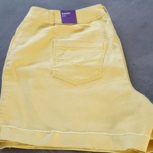 Lane Bryant jean shorts yellow raw edges 24 plus